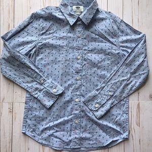 Boys Old Navy Anchor Long Sleeve Button Shirt Sz 8